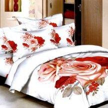 Кпб сатин 2 спальный (красно-розовый букет)