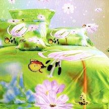 Кпб сатин 2 спальный (бабочки на ярких цветах)