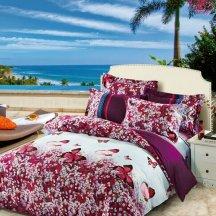 Оригинальное постельное белье TS02-416-50 двуспальное (пурпурные бабочки на лугу)