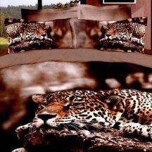 Кпб сатин Евро 2 наволочки (леопард на скале)