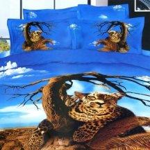 Кпб сатин 2 спальный (леопард на дереве)