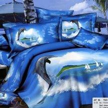 Кпб сатин 2 спальный (дельфин и парусники)