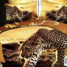 Кпб сатин евро 4 наволочки (леопард идет по следу)