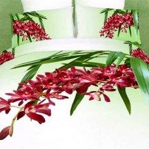 Кпб сатин 2 спальный 70*70 (красные цветы на ветке)