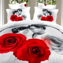 Двуспальное постельное белье сатин 50*70 (влюбленные среди роз)