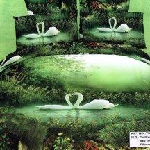 Кпб сатин 1,5 спальный (белые лебеди на озере)