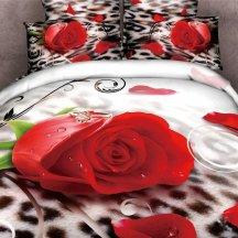 Постельное белье евро стандарта сатин 2 наволочки (роза на леопарде)