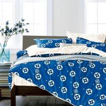 Twill 2 спальный 50*70 (голубой в бежевый горох)