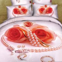 Кпб сатин Семейный 2 наволочки (розы и персиковый жемчуг)